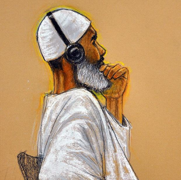 A court sketch of al Qaida cook Ibrahim Ahmed Mahmoud al-Qosi