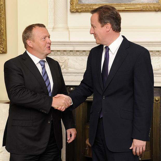 David Cameron shows a united front with Denmark's Prime Minister Lars Lokke Rasmussen