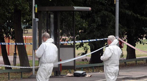 Forensics officers at the scene of a stabbing near Stansfield Road in the Beckton area of east London