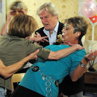 Gail and Deirdre get into a scuffle on Coronation Street