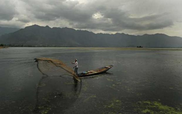 Divided: a fisherman on Dal Lake