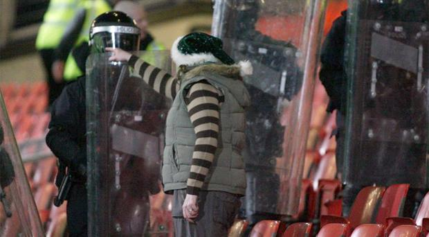 A confrontation on the terraces during the Boxing Day clash between Linfield and Glentoran in 2008