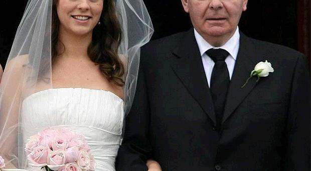 Sean Quinn and his daughter Aoife at her marriage to Dubliner Stephen Kenny yesterday