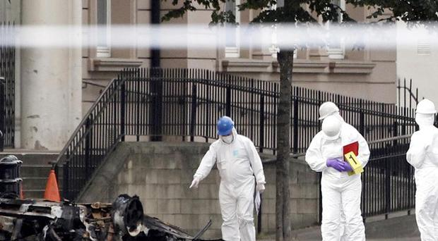 The car bomb exploded outside the Strand Road police station in Londonderry