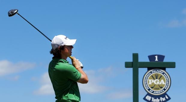 Rory McIlroy watches his tee shot on the first hole during the final round of the 92nd PGA Championship on the Straits Course at Whistling Straits on August 15, 2010 in Kohler, Wisconsin