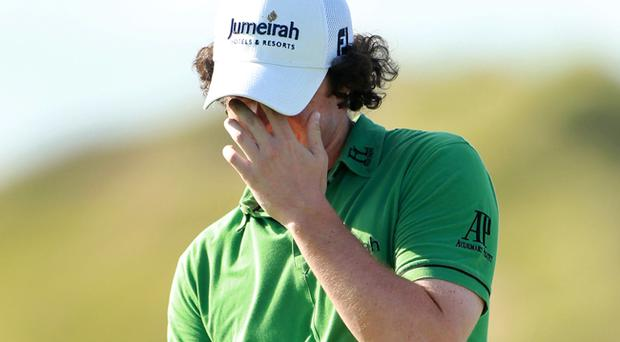 Rory McIlroy reacts to a missed putt on the 15th green during the final round of the 92nd PGA Championship on the Straits Course at Whistling Straits on August 15, 2010 in Kohler, Wisconsin