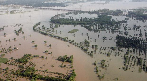 An aerial view of the flooding in the province of Punjab, Pakistan