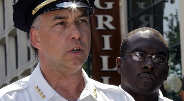 Buffalo Police Commissioner Daniel Derenda and Mayor Byron Brown outside City Grill