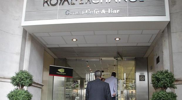A general view of the Royal Exchange in London, where burglars broke into the De Beers and Omega stores