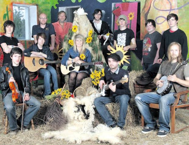 Fun on the Farm: Performers at the launch of Sunflower Fest 2010