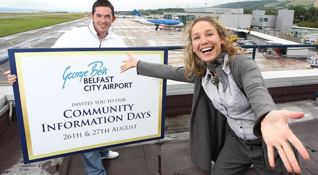 George Best Belfast City Airport is holding community days this month. David McConnell from Inverary Community Centre Committee gets his invite to the Community Days from the airport's communications executive Ruth Kimbley