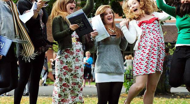 Students from Loughborough High School for Girls, Leicestershire celebrate their A-level results