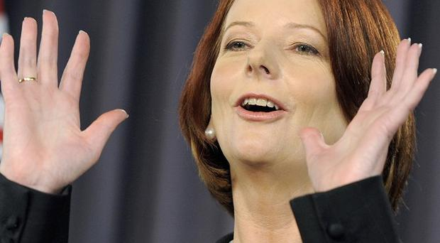 Australian Prime Minister Julia Gillard gives her final address to the nation before the election