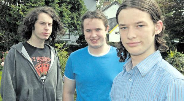 The Thompson triplets from Londonderry after receiving their A-level results. From left, Thomas achieved four As, Robert got 2 As and a B, and Jack was awarded 2 A* and 2 As.
