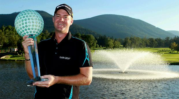 Peter Hanson won the Czech Open to make almost sure of his place on Colin Montgomerie's Ryder Cup team