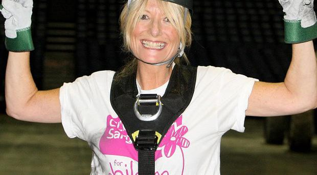 Television presenter Gaby Roslin after she abseiled from the roof of the O2 Arena