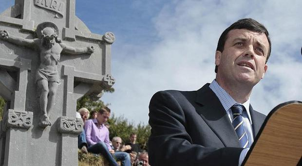 Finance Minister Brian Lenihan attends the annual Beal na mBlath commemoration in Skibbereen, Cork