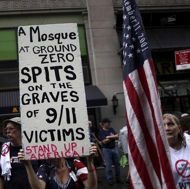 People demonstrate against a proposed mosque near ground zero in New York