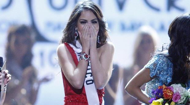 Miss Mexico Jimena Navarrete reacts as she is crowned Miss Universe (AP)