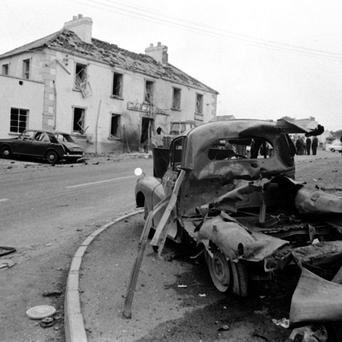 Wreckage outside the Beavpont Arms, itself badly damaged, in the village of Claudy, Co Londonderry