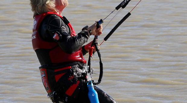 Sir Richard Branso aims to set two world records kite-boarding across the English Channel