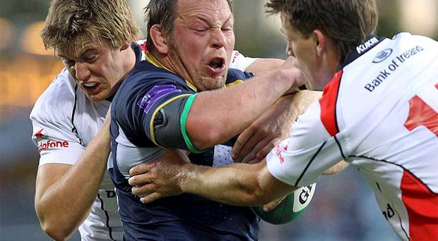 Ulster's Niall O'Connor and Craig Gilroy put the squeeze on Leeds Carnegie's Steve Thompson last night