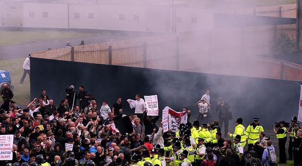 EDL supporters gather in Bradford for a demonstration in the city