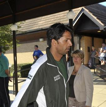 Pakistan's Mohammad Asif arrives at the team hotel in Taunton
