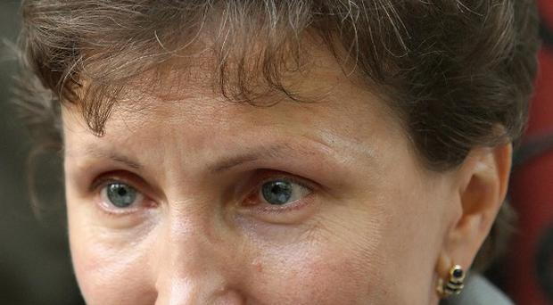 Marina Litvinenko, the widow of Alexander Litvinenko, at a demonstration outside the Russian Embassy in London