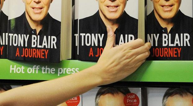The autobiography of former Prime Minister Tony Blair on the shelves at Waterstones book shop in central London