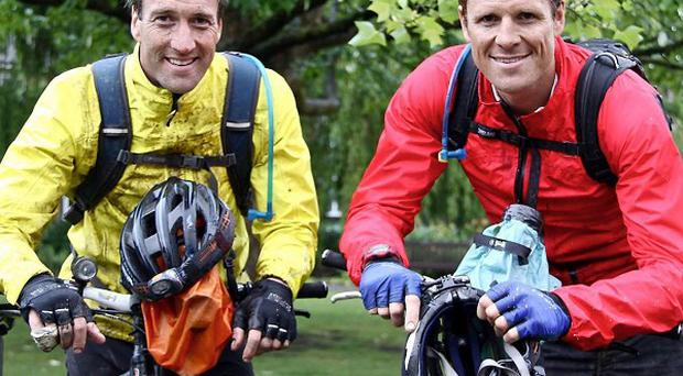 James Cracknell, right, and Ben Fogle before James suffered a fractured skull in a cycling accident