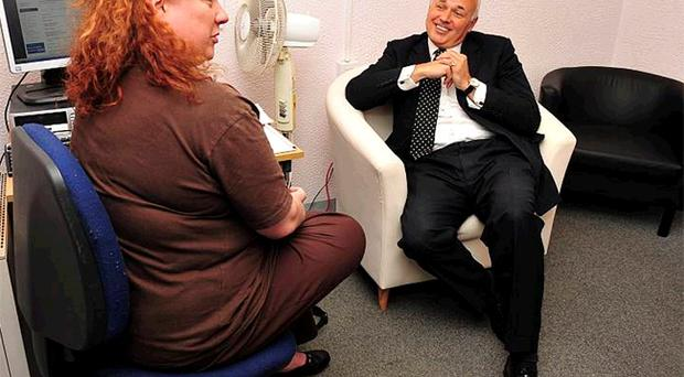 Iain Duncan Smith meets Gayle Campbell from the Stepping Stone project in east Belfast