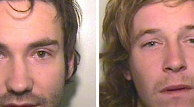 Rohan Foley (left) and Jack Brown, who have been sentenced for setting fire to a friend in a drunken prank