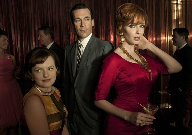 Mad Men has won much praise for its faithful representation of the 1960s. This is especially true of the costumes worn by characters in the show, including (l-r) Peggy Olson (Elisabeth Moss), Don Draper (Jon Hamm) and Joan Harris (Christina Hendricks)