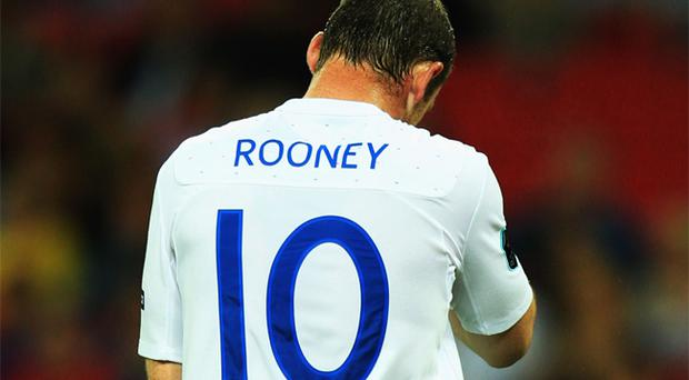 Wayne Rooney pictured during Friday night's Euro 2012 Group qualifying match between England and Bulgaria at Wembley Stadium