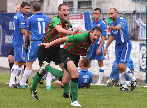 Ciaran Martyn wheels away in delight after scoring the only goal of the game against Glenavon on Saturday