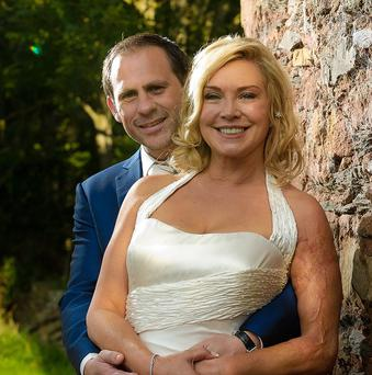 Amanda Redman with her husband Damian Schnabel in the grounds of Maunsel House were they were married