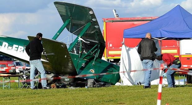 A pilot of a small plane lost control of his aircraft while taking off at a flight show in Germany