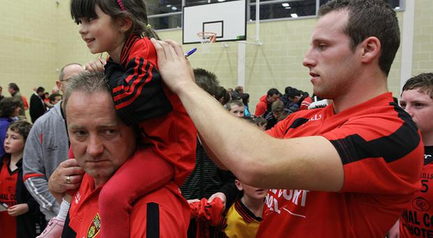 Ambrose Rogers pictured during Monday night's Fans' Open Night with Down Senior Footballers before the All Ireland Final at Abbey Grammar School in Newry
