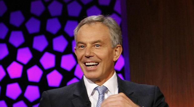 Tony Blair appears on The Late Show at RTE TV studios in Dublin