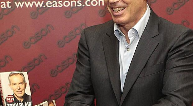 Former Prime Minister Tony Blair at his first book signing in Dublin on Saturday