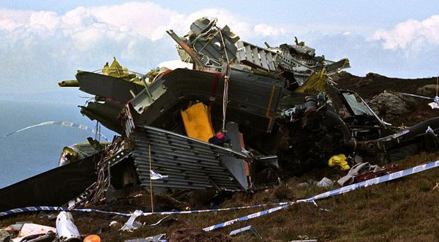 The wreckage of the Chinook helicopter which crashed on the Mull of Kintyre killing all 29 on board
