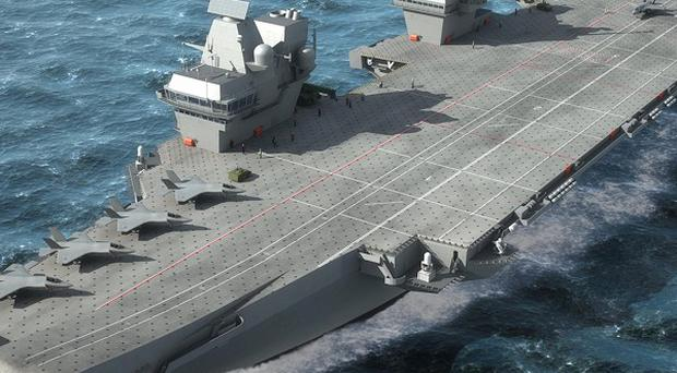 An artist's impression of one of the Royal Navy's planned super aircraft carriers