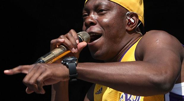 Dizzee Rascal got an eyeful when someone flashed at him during his set at Bestival