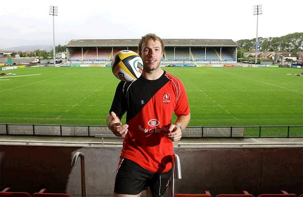 Stephen Ferris at Ravenhill yesterday after signing a lucrative new deal with Ulster