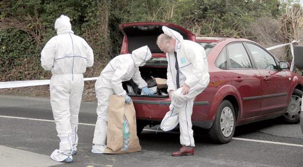 The scene on Station Road in Portmarnock, Co Dublin, were a man was shot