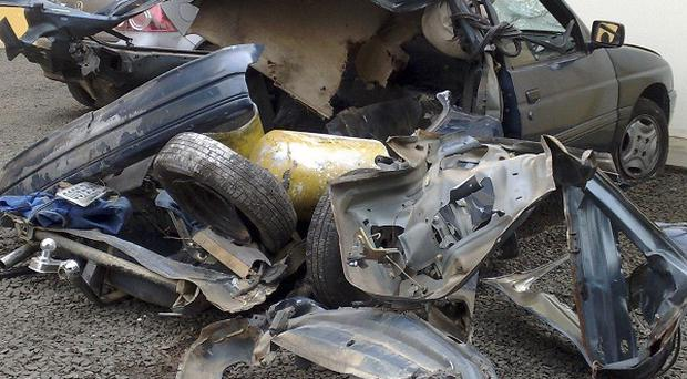 A car exploded in southern Brazil, apparently because rocks of crack cocaine were hidden inside it (AP)