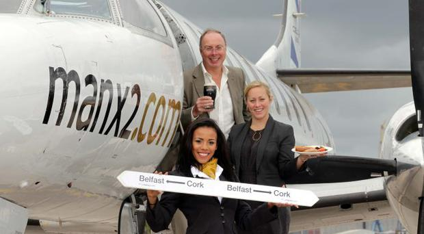 Airline Manx2.com has chosen George Best Belfast City Airport as its first permanent base outside the Isle of Man as it launches a twice daily Belfast to Cork service. Noel Hayes, chairman of Manx2.com, welcomed the news with an Ulster fry and a pint of Murphy's, a stout brewed in Cork, accompanied by Katy Best, business development director at the airport and Miss Northern Ireland, Lori Moore