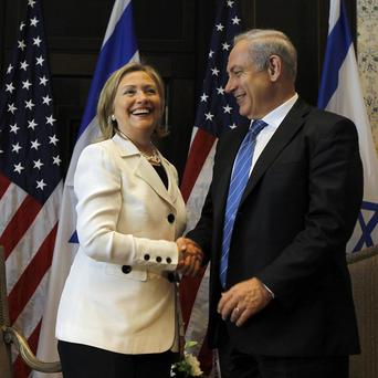 US Secretary of State Hillary Clinton and Israeli Prime Minister Benjamin Netanyahu at Middle East peace talks (AP)