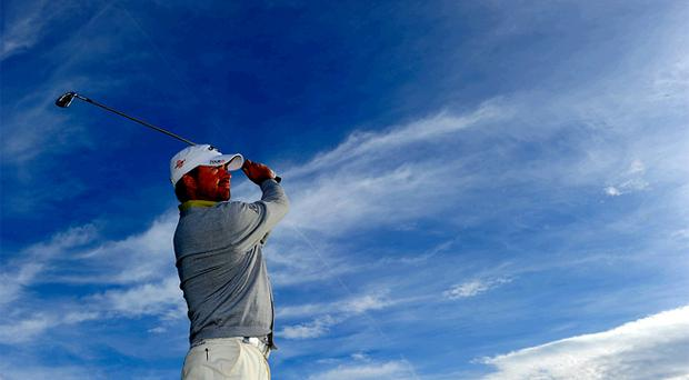 Graeme McDowell gets some practice in yesterday ahead of the Austrian Open